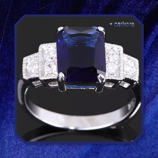 Other New 6ct White Gold Filled Blue Sapphire Ring Image 1