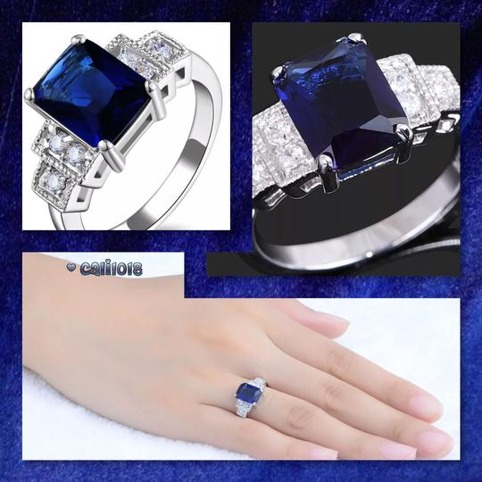 Other New 6ct White Gold Filled Blue Sapphire Ring Image 2