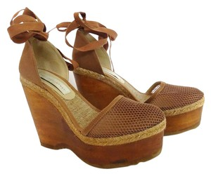 Stella McCartney Wood Canvas Ties Tan Wedges