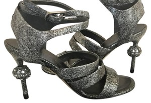 Chanel Pearl Cc Metallic silver Sandals
