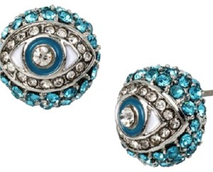 Betsey Johnson Evil Eye Stud Earrings Pave Crystal B11209