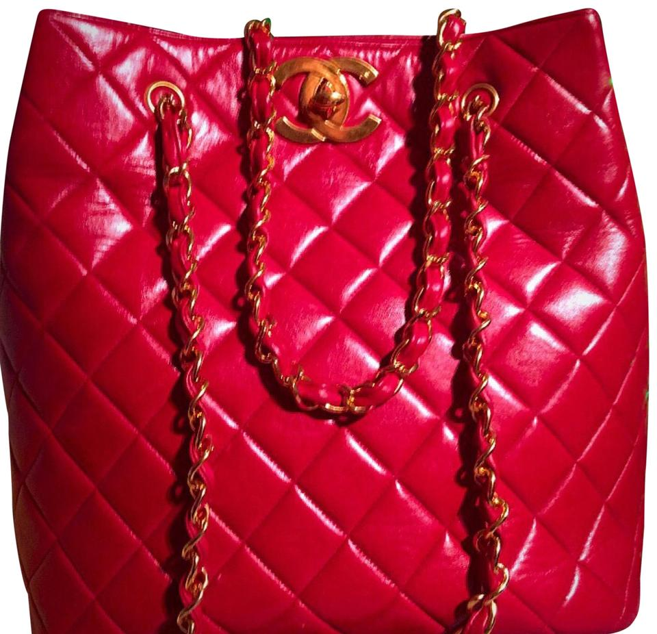 54824918febb Chanel Chain Bag Classic Vintage Quilted Big Cc (Super Rare Red ...