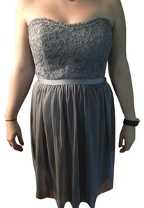 David's Bridal Grey 30112741 Traditional Bridesmaid/Mob Dress Size 8 (M)