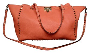 Valentino Grained Leather Calfskin Rockstud Tote in Coral