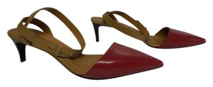 See by Chloé Designer Leather Sole Ankle Strap Point Toe red/tan Pumps