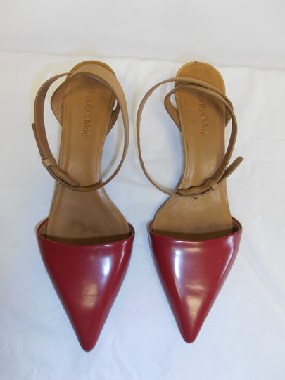 See by Chloé Designer Leather Sole Ankle Strap Point Toe red/tan Pumps Image 1