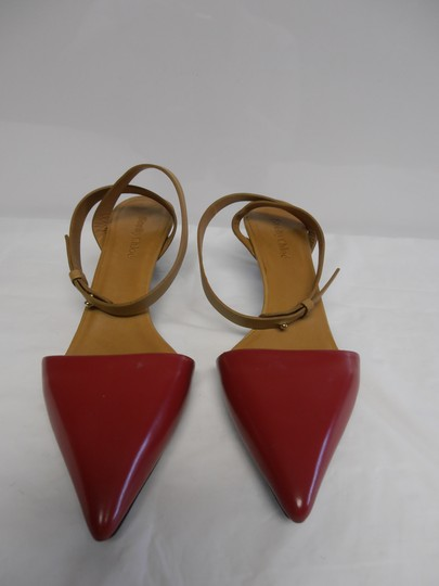 See by Chloé Designer Leather Sole Ankle Strap Point Toe red/tan Pumps Image 3