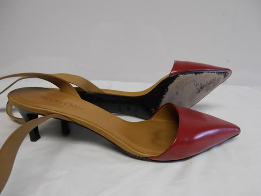 See by Chloé Designer Leather Sole Ankle Strap Point Toe red/tan Pumps Image 4