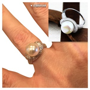 Other New Pearl and Sapphire White Gold Filled Ring