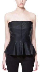 Zara Peplum Faux Leather Strapless Night Out Evening Top BLACK