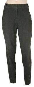 Donna Karan Brown Brushed Stretch Tapered Slim Skinny Pants DARK BROWN