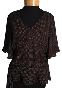 Lauren Ralph Lauren Top Brown with white polkadots