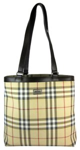 Burberry Nova Check Leather Beige Tote Shoulder Bag