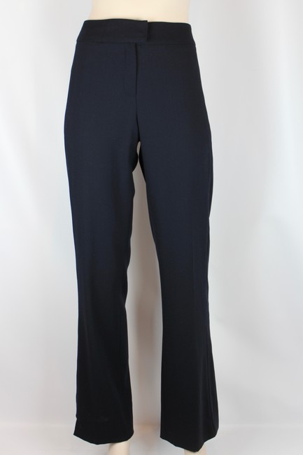 Escada Wool Tailored Slim Fitted Straight Pants NAVY BLUE Image 4