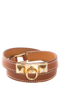 Herms Rivale Double Tour Brown Leather Wrap Bracelet
