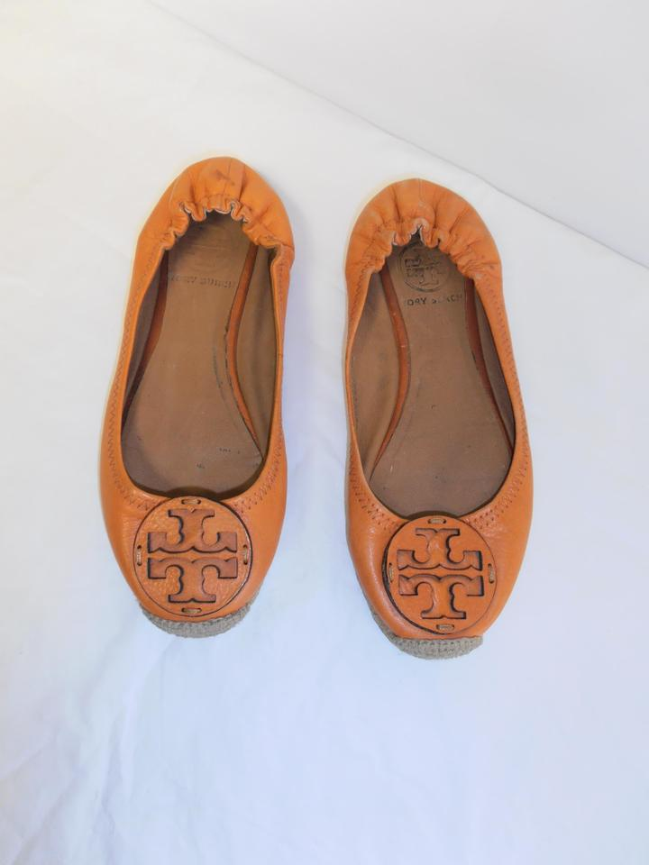 a8c2c4bb72ad6 Tory Burch Orange Reva Espadrille Slip On Leather Flats Size US 6 ...
