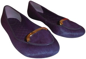 Tory Burch Designer Leather Sole Fur purple Flats