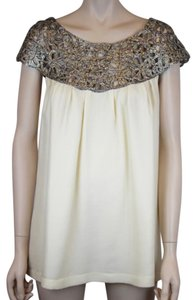 Lela Rose Lurex Woven Silk Top CREAM IVORY SILVER