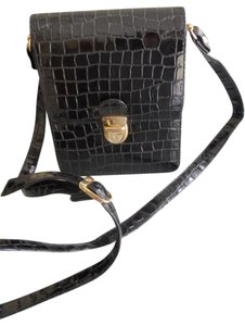 Essell Vintage 1960's Style Patent Leather Embossed Animal Prnt Cross Body Bag