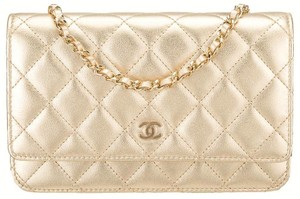 Chanel WOC On A Chain GOLD Quilted Lambskin CC Flap Classic Cross Body Bag