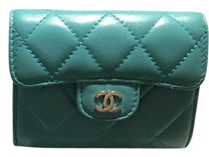 Chanel Auth Chanel Quilted Lambskin Leather Card Case with back pocket (Rare)