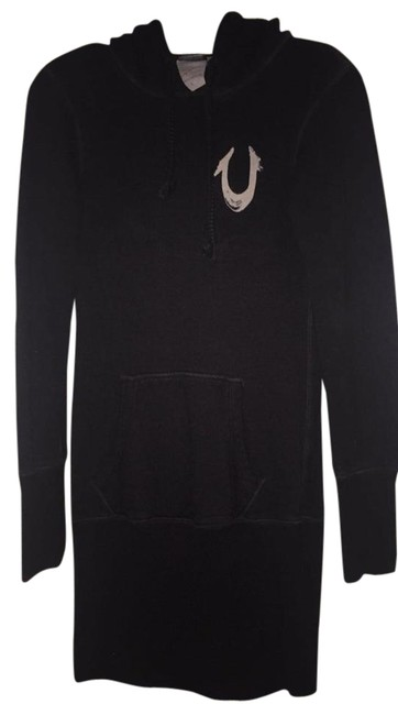 Item - Black Sweatshirt with Hood Short Casual Dress Size 4 (S)