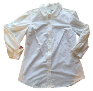 Anthropologie Odille Oxford Anthro Designer Button Down Shirt White