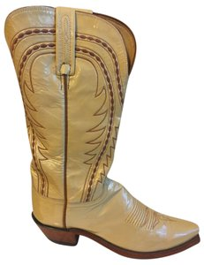 Lucchese Western Patent Leather Tan Boots