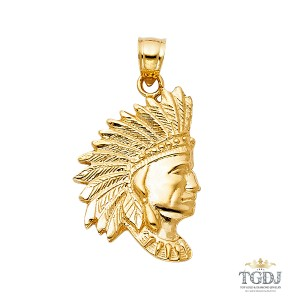 Top Gold & Diamond Jewelry Indian Pendant, 14K Yellow Gold Indian Pendant
