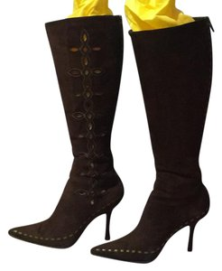 Jimmy Choo Suede Side Cut Outs Knee High Boots