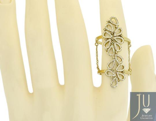 Jewellery Unlimited 14k Yellow Gold Ladies Round Diamond Flower Knuckle Cocktail Ring Image 2
