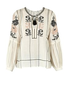Ulla Johnson Embroidered Boho Floral Top Ivory