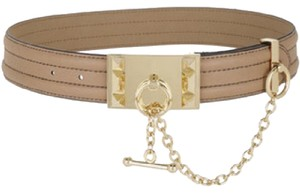 BCBGMAXAZRIA quilted camel brown toggle belt gold chain size Small