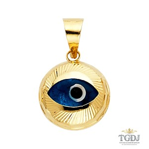Top Gold & Diamond Jewelry Evil Eye Fluted Pendant, 14KY Evil Eye Fluted Pendant