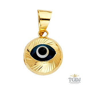 Top Gold & Diamond Jewelry Evil Eye Fluted Pendant, 14K Yellow Gold Evil Eye Fluted Pendant