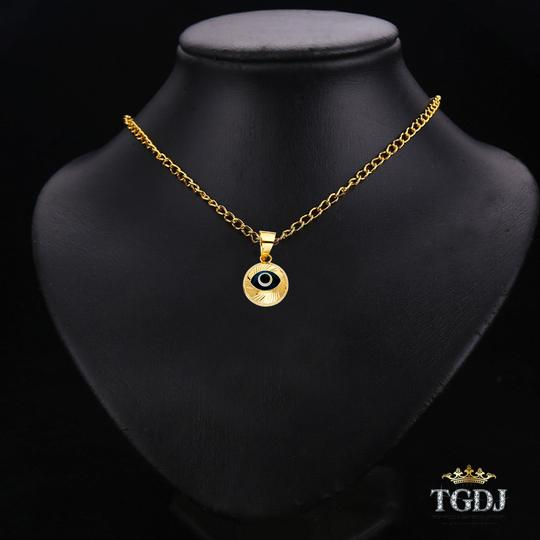 Top Gold & Diamond Jewelry Evil Eye Fluted Pendant, 14K Yellow Gold Evil Eye Fluted Pendant Image 1