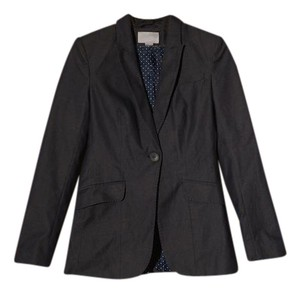 H&M blue navy skirt suit with white pocka dots inside