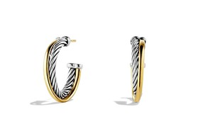 David Yurman David Yurman Crossover Hoop Earrings with 18K Gold