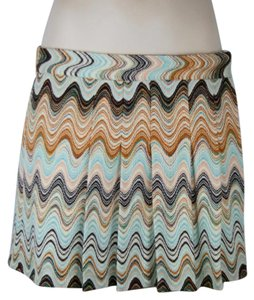 Missoni Zigzag Pleated Mini Turquoise Mini Skirt ORANGE AQUA BROWN IVORY