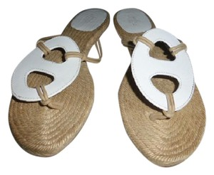 Hermès white leather & espadrille Sandals