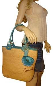 Coach Supple Straw Spacious Interior Flower Applique Tote in Natural /Turquoise