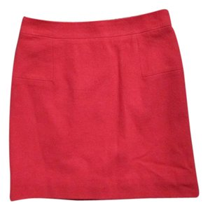 J.Crew Wool A-line Spring Summer Career Mini Skirt Red