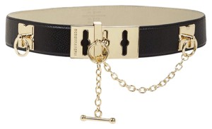 BCBGMAXAZRIA black toggle belt gold chain size small