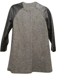 Topshop Wool Blend Leather Sleeves Collarless Thigh Length Coat