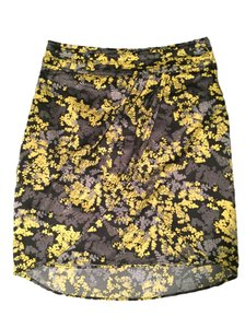 H&M Gray Yellow Black Floral Tulip Hem Skirt
