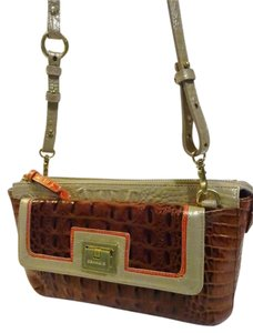 Brahmin Convertible Style Tri-color Leather Melbourne Croc Rare New Condition Cross Body Bag