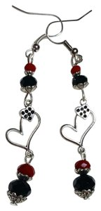 Other Handmade Heart Charm Earrings Red Black and Silver A199