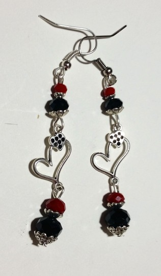 Other Handmade Heart Charm Earrings Red Black and Silver A199 Image 1