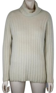 Neiman Marcus Cashmere Ivory' Beige Warm Turtleneck Sweater