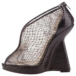 Christian Louboutin Janet Lace Python Wedge Black Boots